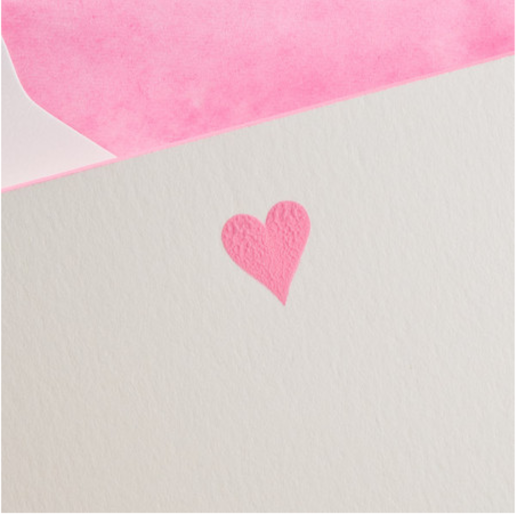 The Printery Boxed Notecards - Heart - Hot Pink