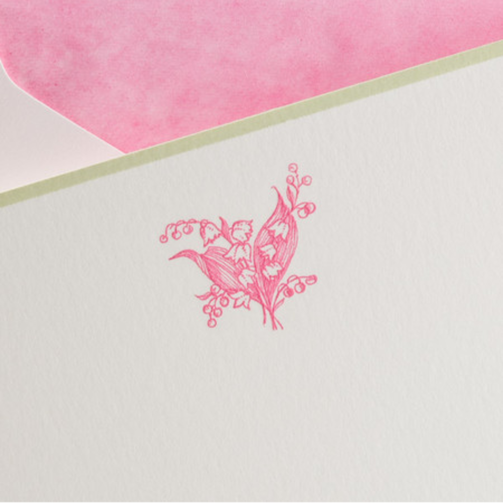 The Printery Boxed Notecards - Lily of the Valley - Hot Pink on White w/Green Border