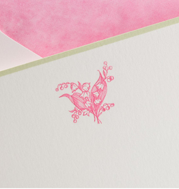 MH Boxed Notecards - Lily of the Valley - Hot Pink on White w/Green Border