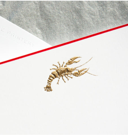 MH Boxed Notecards - Lobster - Gold on White/Red Border - S/10