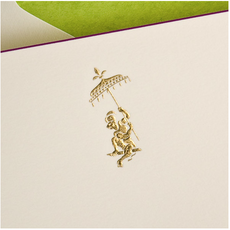 The Printery Boxed Notecards - Monkey - Gold Fancy - Ecru/Magenta Border - S/10