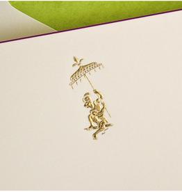 MH Boxed Notecards - Monkey - Gold Fancy - Ecru/Magenta Border - S/10