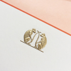 The Printery Boxed Notecards - Monkeys - Double Gold - Ecru/Terra Cotta Border - S/10