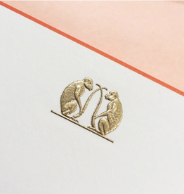 MH Boxed Notecards - Monkeys - Double Gold - Ecru/Terra Cotta Border - S/10