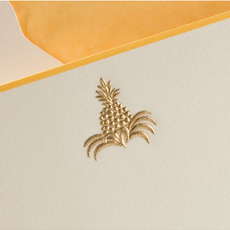 The Printery Boxed Notecards - Pineapple - Gold on Ecru - S/10