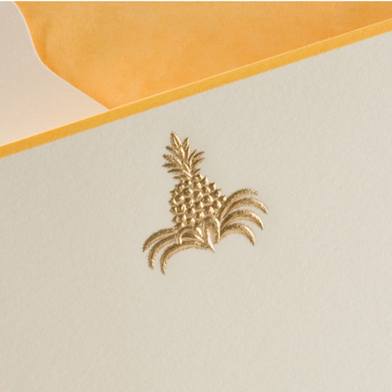 MH Boxed Notecards - Pineapple - Gold on Ecru - S/10