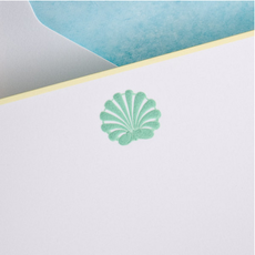 The Printery Boxed Notecards - Scallop - Seafoam Green on Bright White