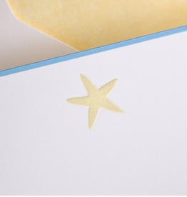 MH Boxed Notecards - Starfish - Cream on White w/Fenton Blue Border - S/10