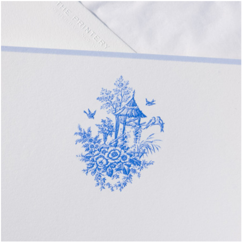 MH Boxed Notecards - Toile - Blue on Bone White w/Eldridge Blue Border