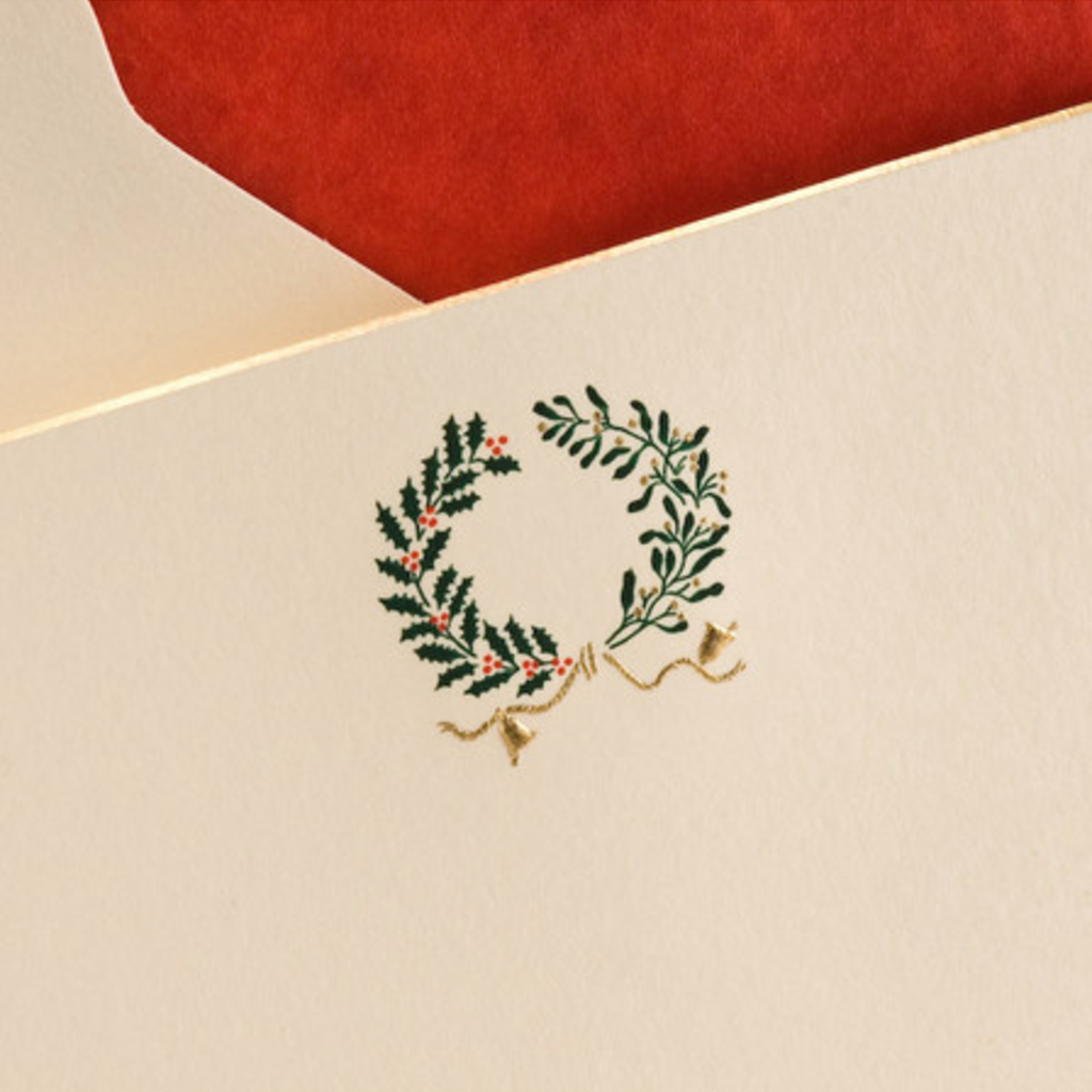 The Printery Boxed Notecards - Wreath - Holly & Mistletoe