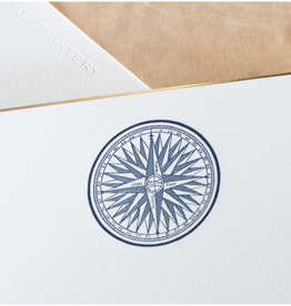 MH Boxed Notecards - Compass Rose - Navy Blue w/Gold Foil Bevel on Bone