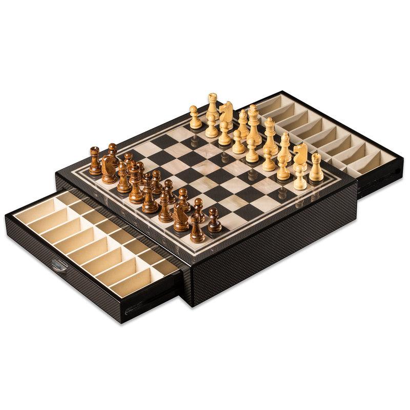 Bey-Berk International Chess Set - Carbon Fiber & MOP w/Drawers