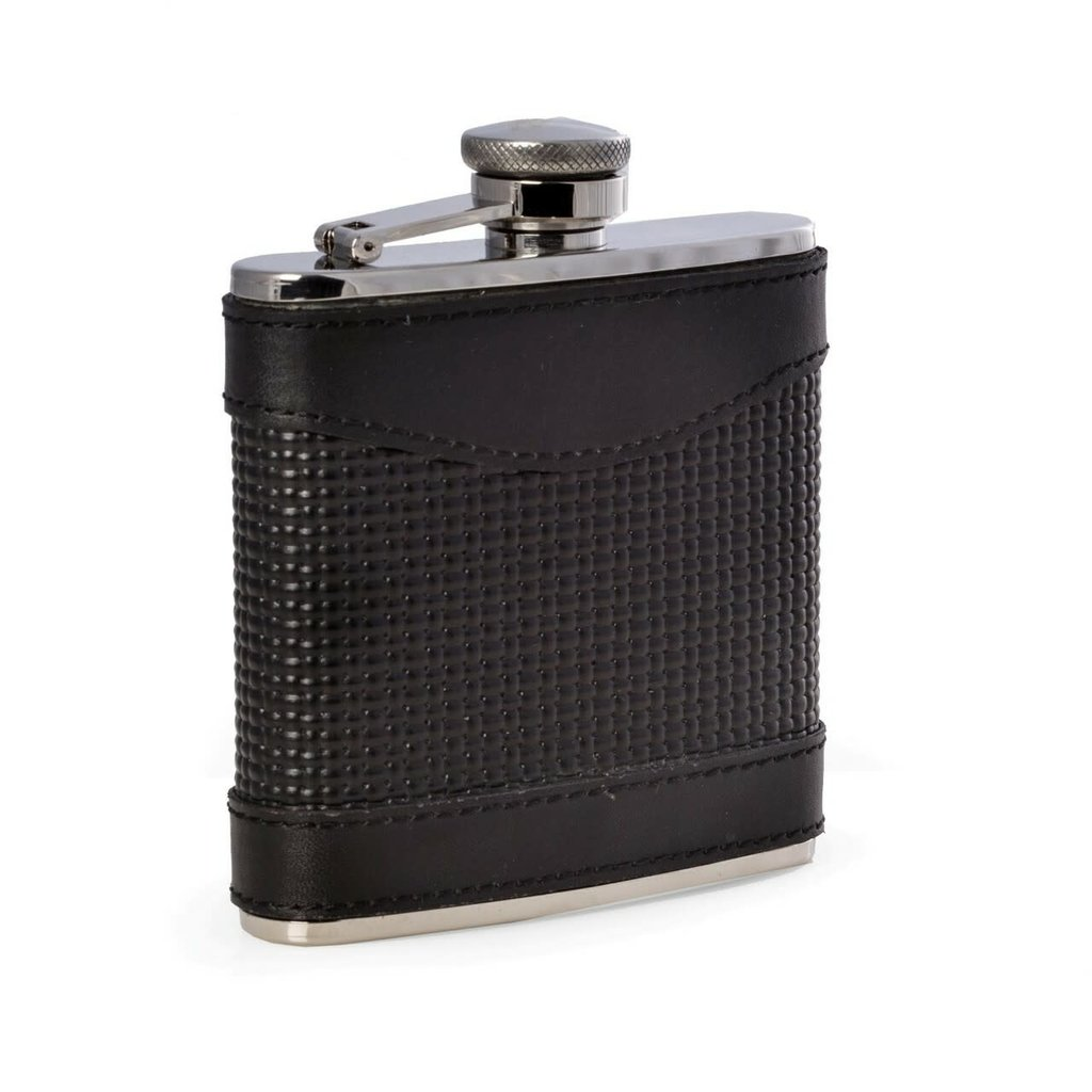 MH Flask - Black Woven Leather - Stainless - 5 oz.