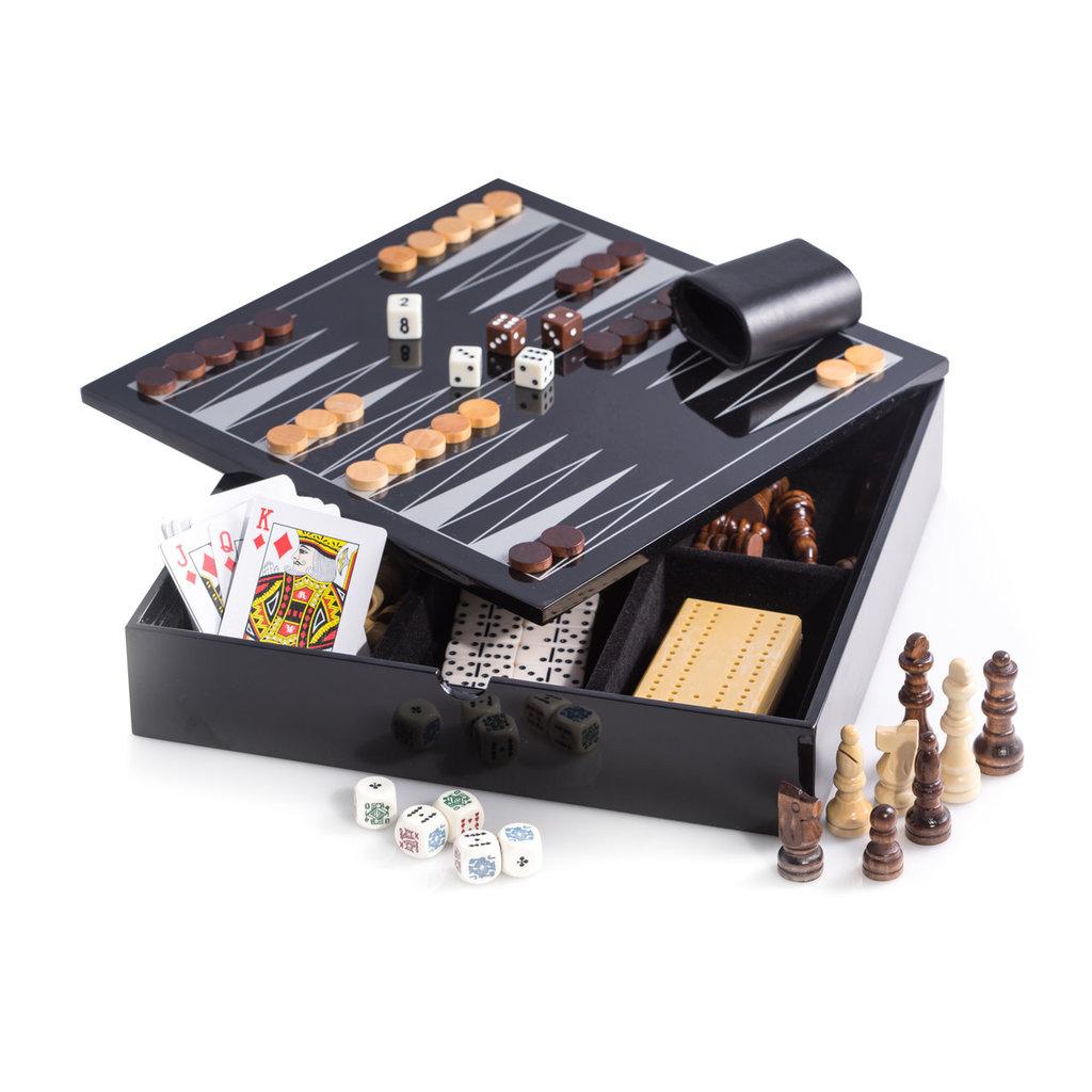 "MH Multi-Game - Lacquered - Backgammon, Chess, Etc. -  11.5"" Square"