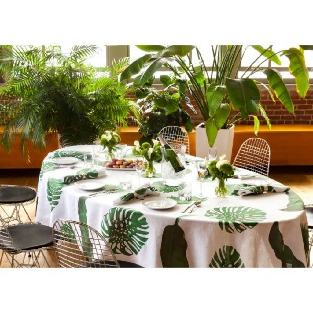MH Tablecloth - Tropical Leaves - Linen - Rectangle 66x108