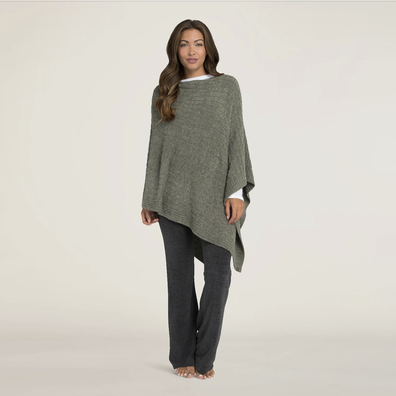 MH Poncho - CozyChic Lite - Cable - Heathered Olive/Loden