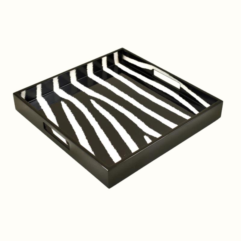"""MH Tray - Lacquered - Zebra - Square  -14"""""""