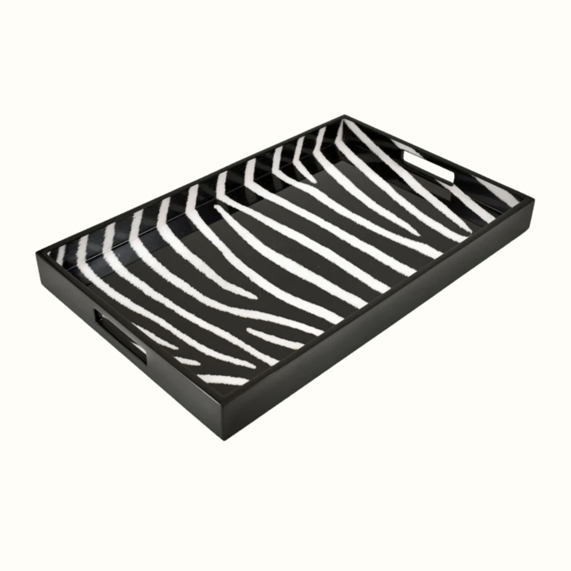 "MH Tray - Lacquered - Zebra - Breakfast - 14"" x 22"""