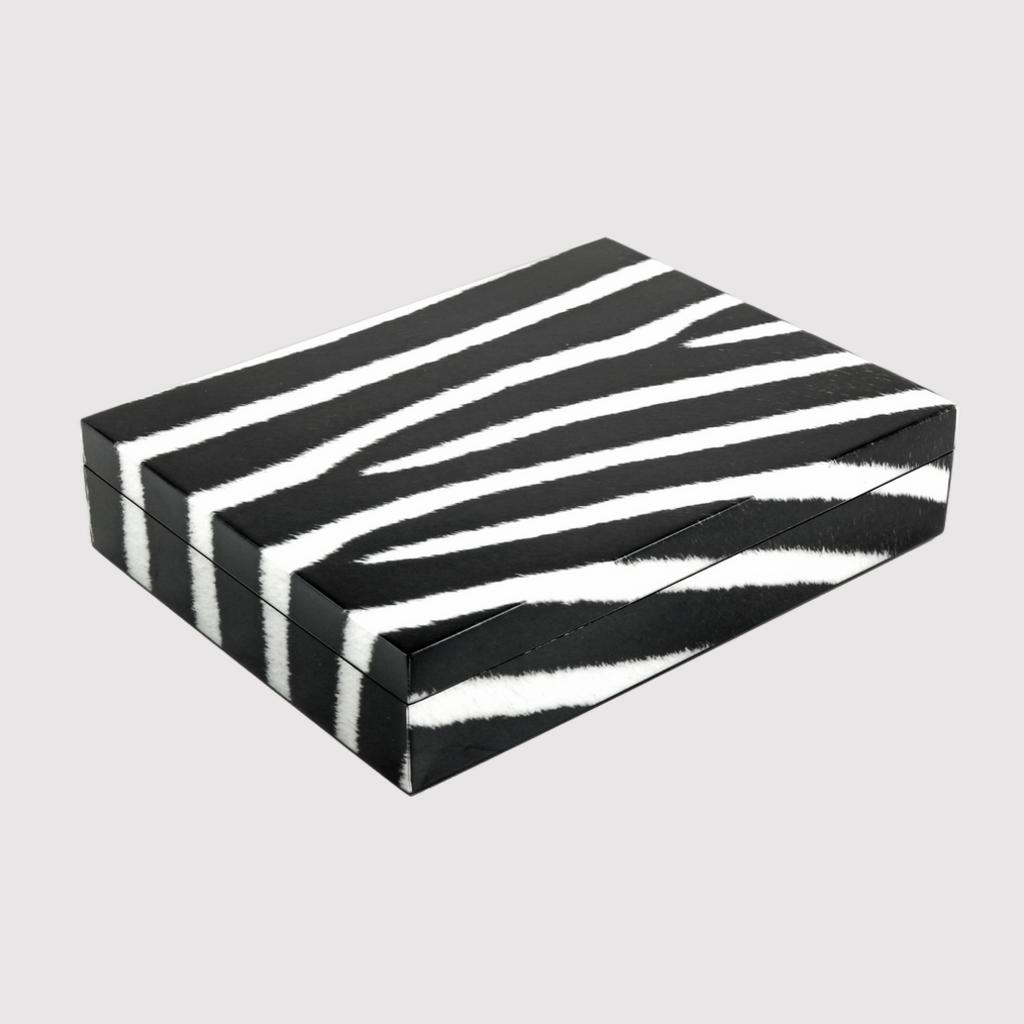 "MH Box- Lacquered - Zebra -Stationery - 12.5"" x 9.5"""
