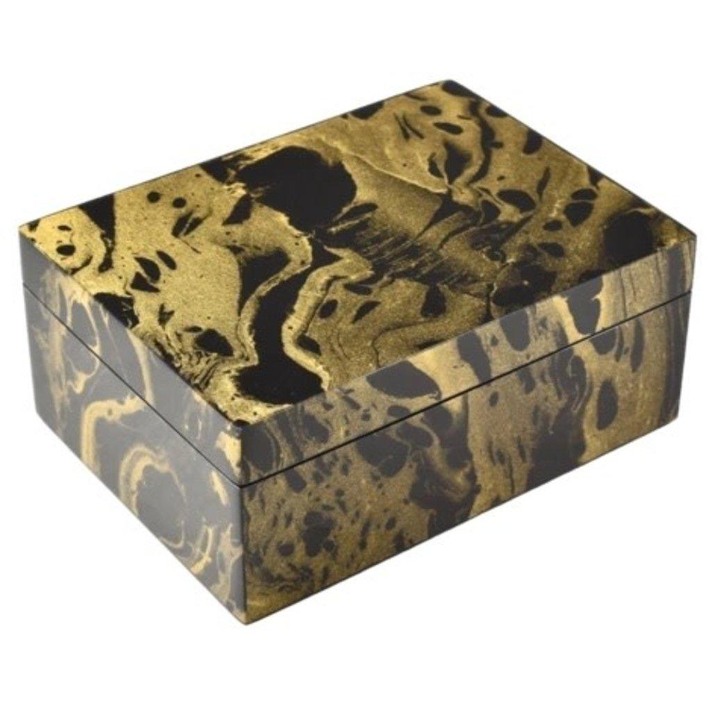 MH Box - Lacquered - Black Gold Marbled - Medium -  8x6x3.5