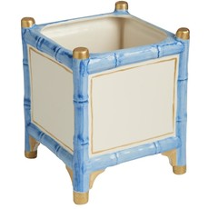 MH Cachepot - Bamboo -  Blue & Gold Accents - 2 Sizes