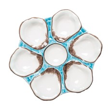 MH Oyster Plate - Ceramic - In Navy & Turquoise