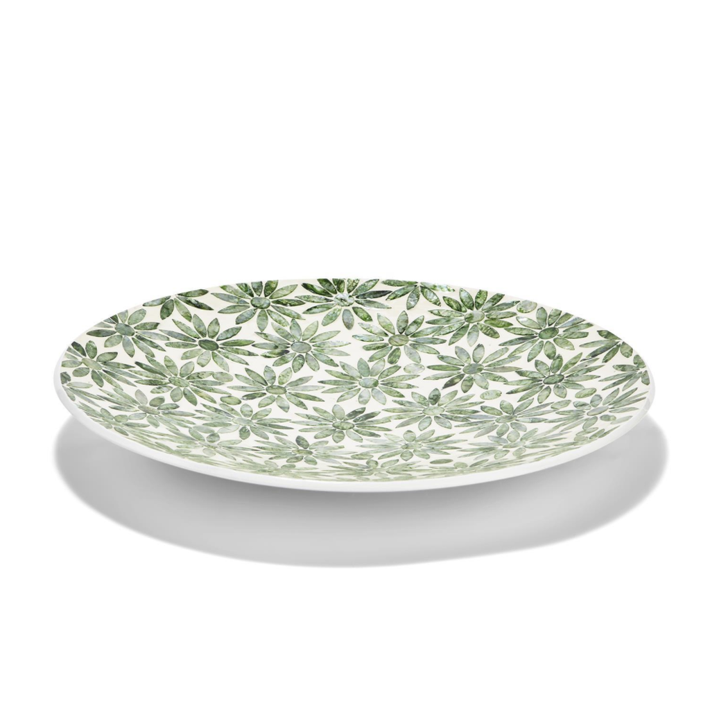 "MH Platter - Daisy Decorative - Green MOP - 16""D"