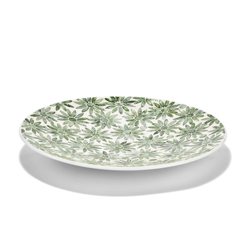 """MH Platter - Daisy Decorative - Green MOP - 16""""D"""