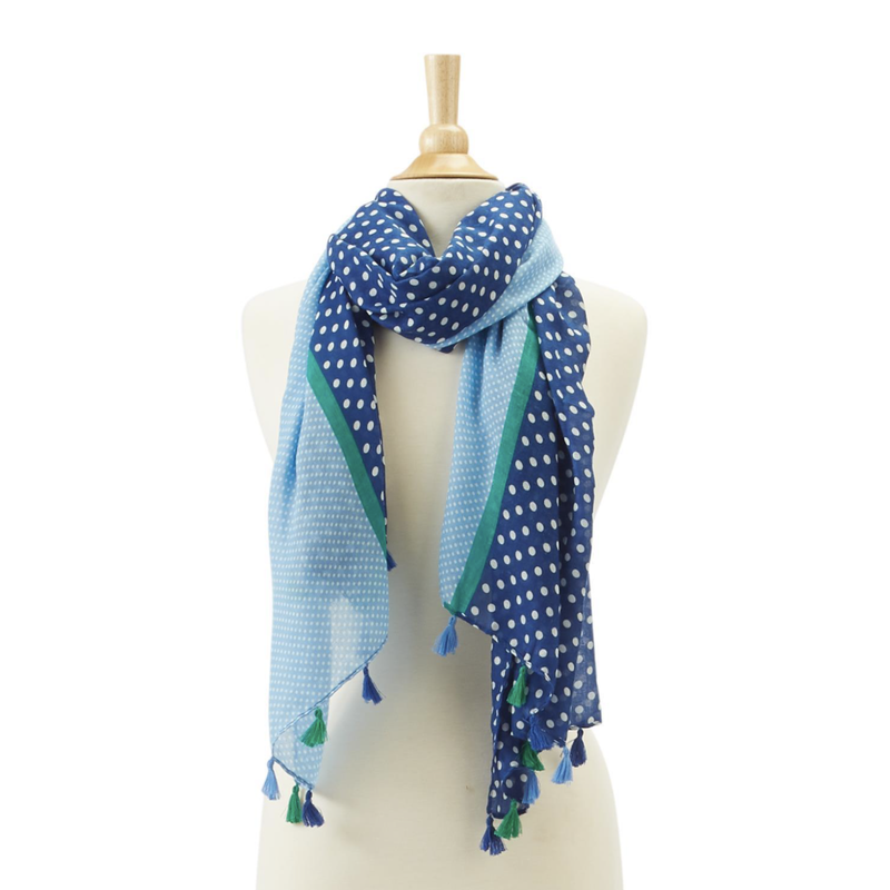 MH Scarf - Polka Dot with Tassels -