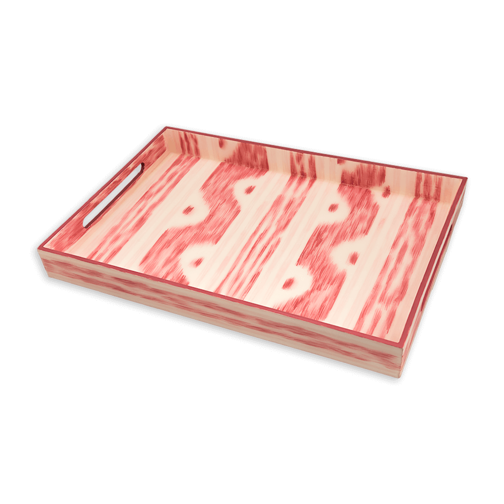 """MH Tray - Lacquer - Ikat - 14"""" x 20"""" - Pink"""