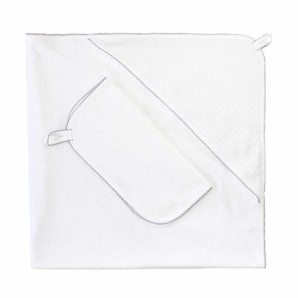 MH Hooded Towel Set - Basket Weave Applique -