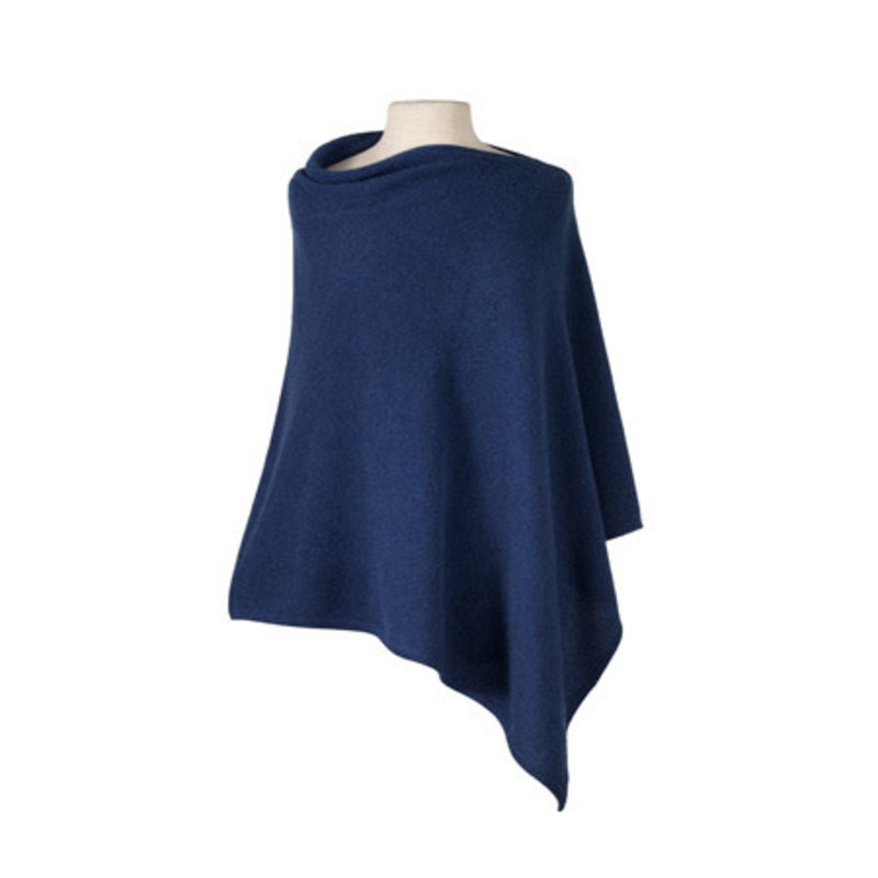 MH Cashmere Cape - Pebble Stitch - Denim