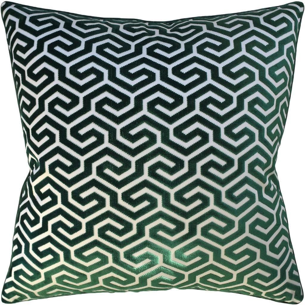 MH Ming Fret Velvet - Pillow - Emerald - 22x22