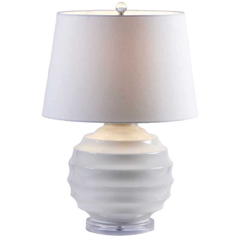 MH Table Lamp - Ribbed White Sphere
