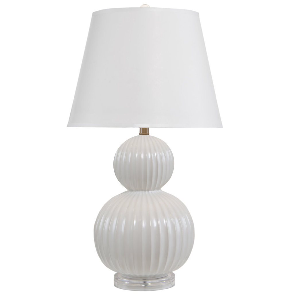 MH Table Lamp - White Ribbed Double Gourd