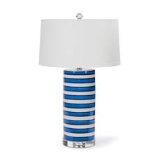 "MH Table Lamp - Blue & White Striped Ceramic Column - 28""H"