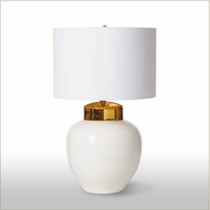 MH Table Lamp - White Ribbed  with Gold Cap
