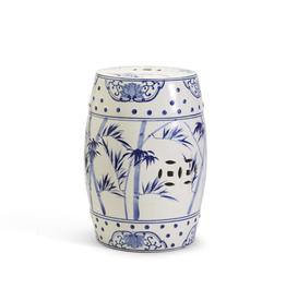 MH Garden Stool - Blue & White - Bamboo & Rose Pattern