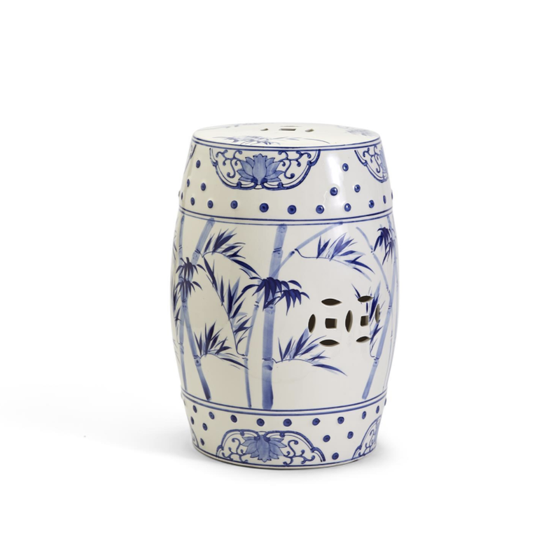MH Garden Stool - Blue & White - Bamboo & Rose Pattern