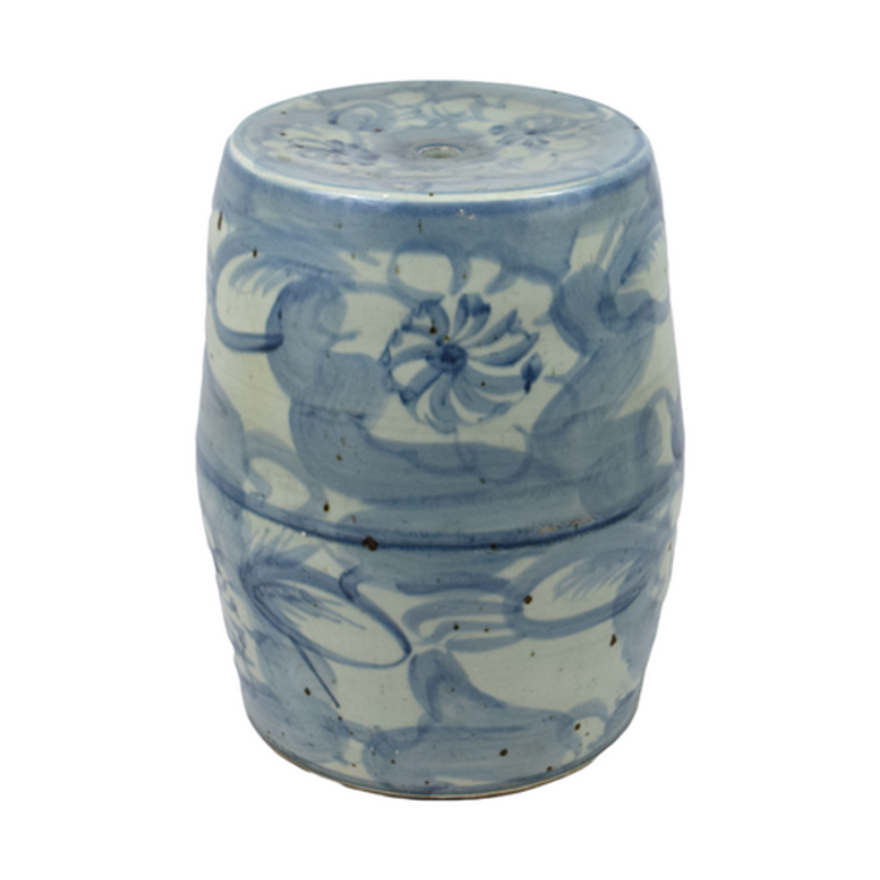 MH Garden Stool - Blue & White - Lotus Motif