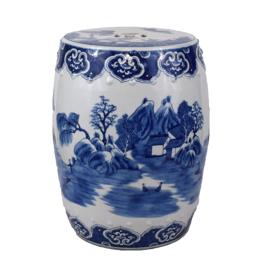MH Garden Stool - Blue & White -Village Motif