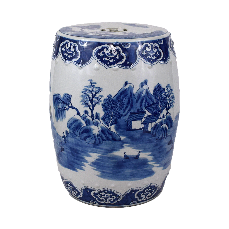 MH Garden Stool - Blue & White -Village Motif
