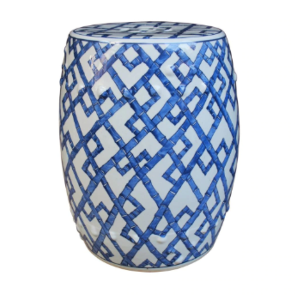 MH Garden Stool - Blue & White Bamboo Joints - 13x13x17