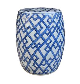 MH Garden Stool - Blue & White Bamboo Joints