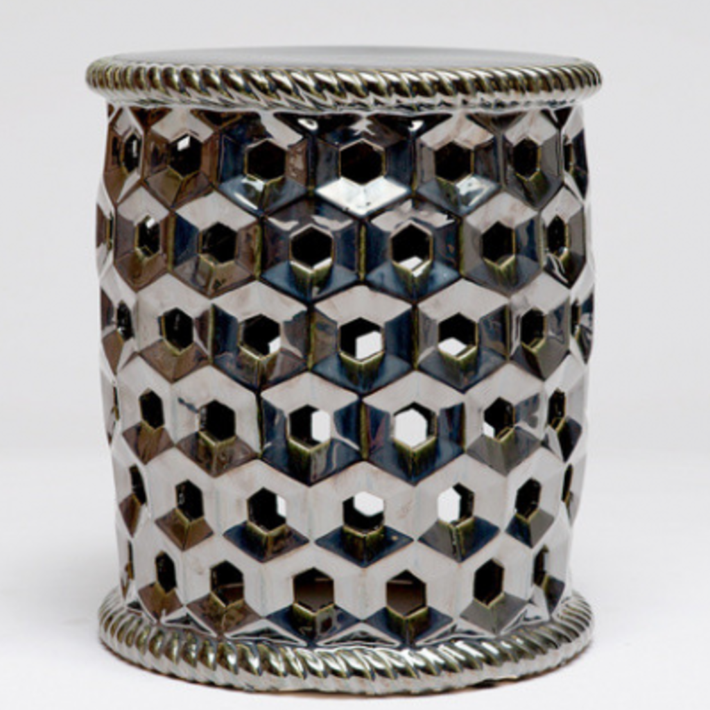 "MH Garden Stool - Black Pearl - Ceramic - 15""D x 17""H"