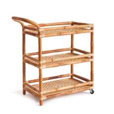 MH Bar Cart - Rattan & Woven Cane - 28 x 16 x 32