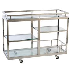 MH Bar Cart with Glass Shelves - 17x32x42