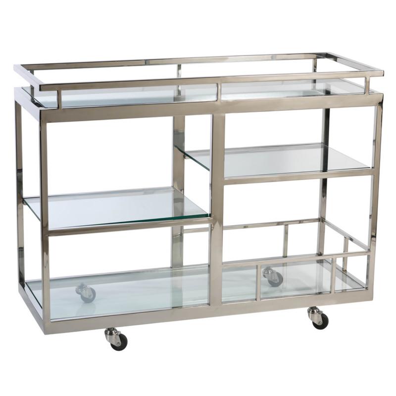 MH Bar Cart with Glass Shelves