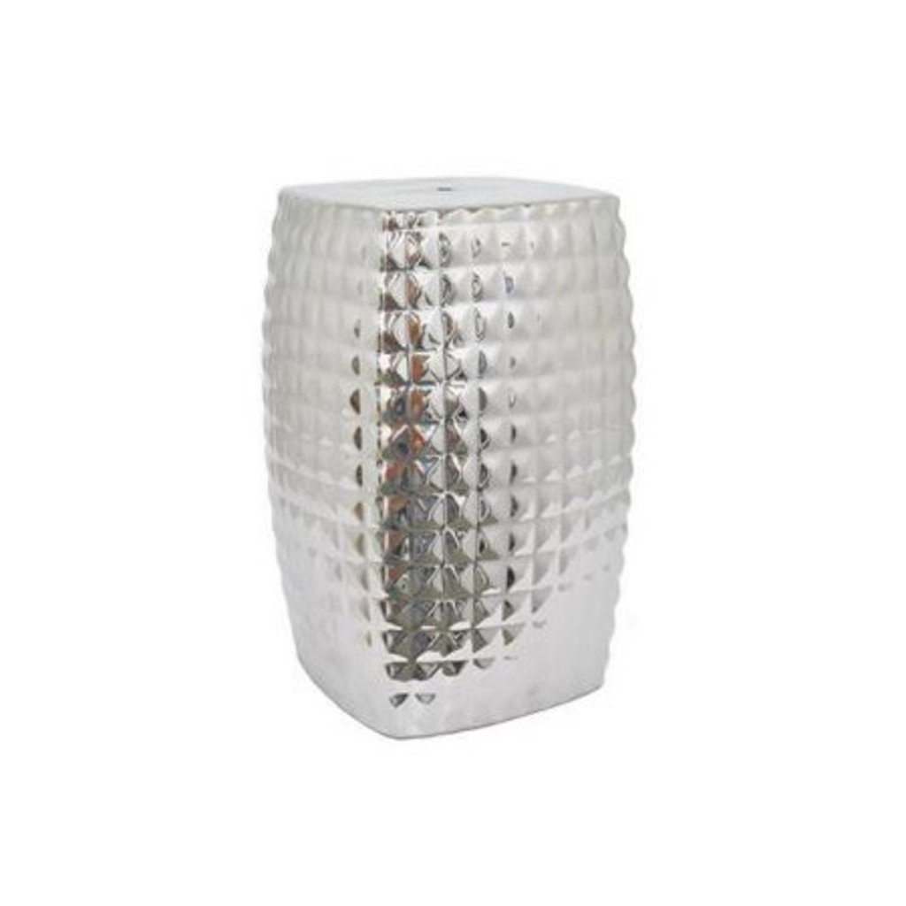 "MH Garden Stool - Silver ""Quilted"" - Ceramic"