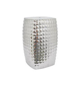 """MH Garden Stool - Silver """"Quilted"""" - Ceramic"""